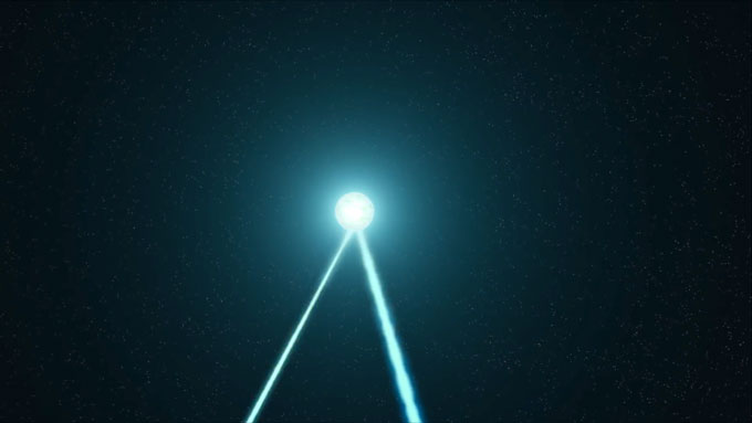 two beams of light stream out from the bottom of a bright orb in the center of the picture