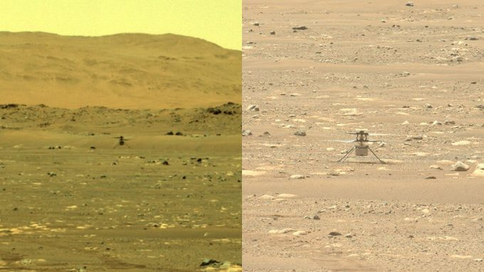 image of Ingenuity flight next to image of ingenuity landed