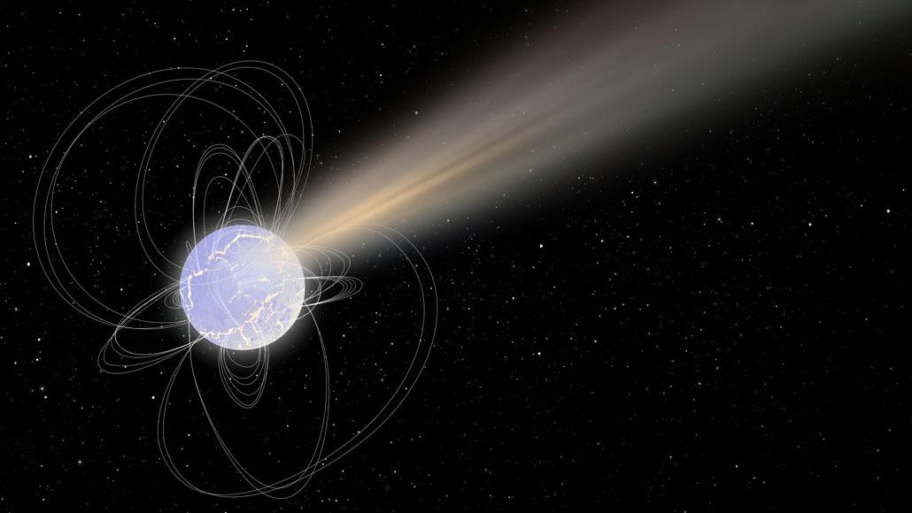 illustration of fast radio burst from magnetic star