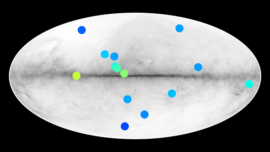 map of Milky Way showing possible antistars