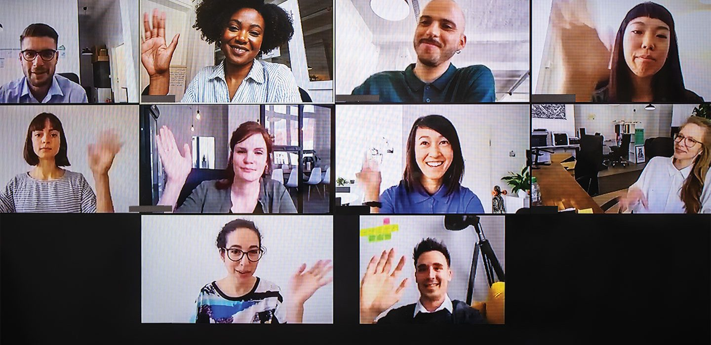 collage of people on a videocall waving