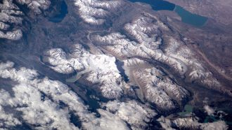 aerial image of melting glaciers in the Andes mountains