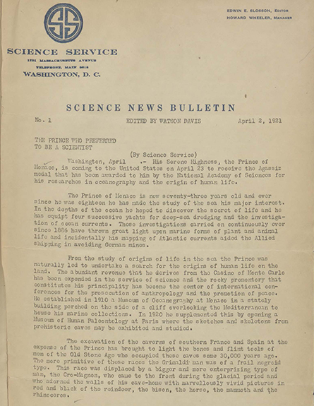 first page of the first issue of Science News Bulletin