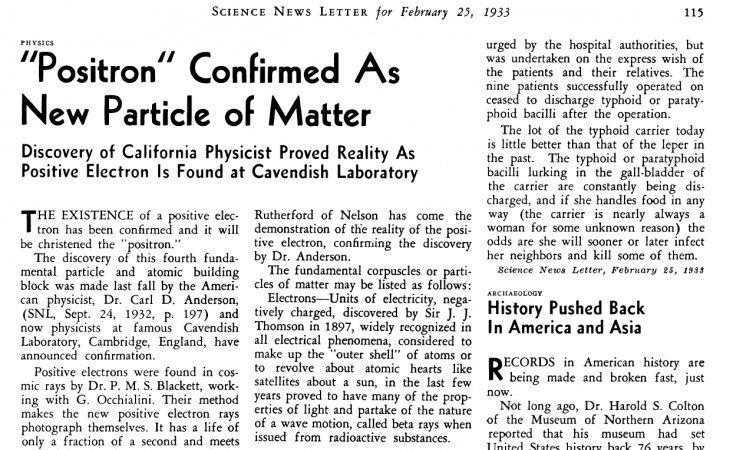 screenshot of the Feb. 25, 1933 Science News Letter