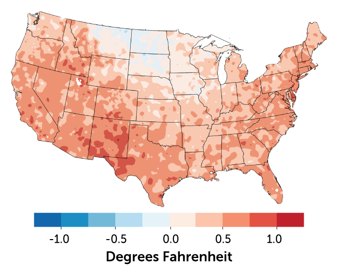 map showing U.S. mean temperature change from 1991–2020 compared with 1981–2010