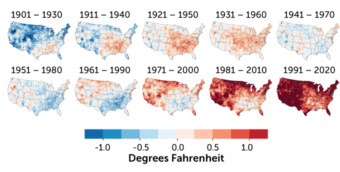 maps showing U.S. 30-year temperature averages compared with 20th-century average