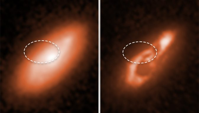 side-by-side comparison of images of a galaxy