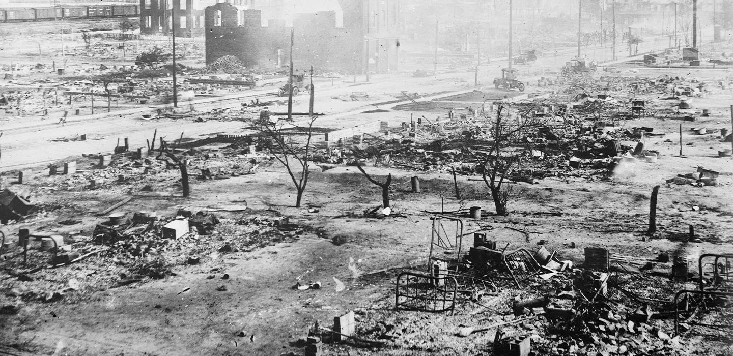 black and white image of dusty ruins in Greenwood after the massacre
