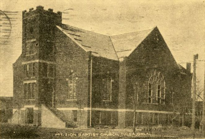 a black and white postcard of the Mt. Zion Baptist church before the massacre