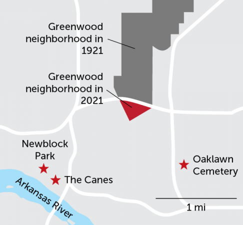Map of Greenwood and possible mass grave sites in Tulsa