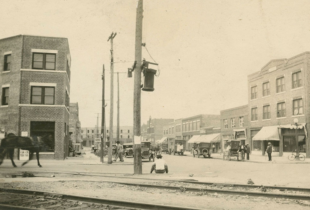 black and white image of a Greenwood avenue street scene prior to 1921