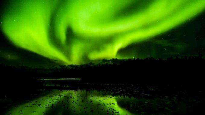 night sky with green glow