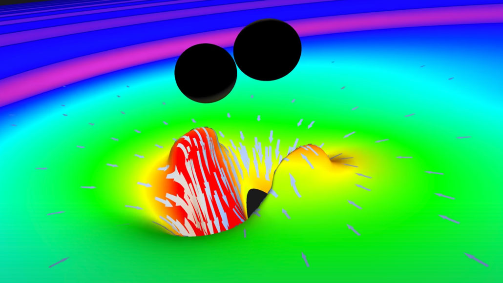 simulation of gravitational waves from two merging black holes