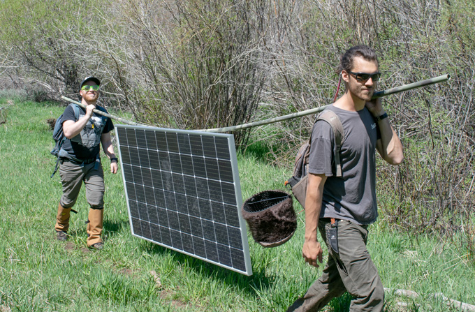 two ecologists carry solar panels in the field
