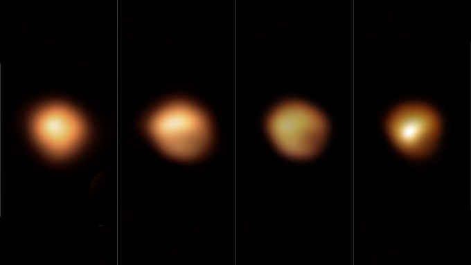 four images of Betelgeuse before and during its Great Dimming