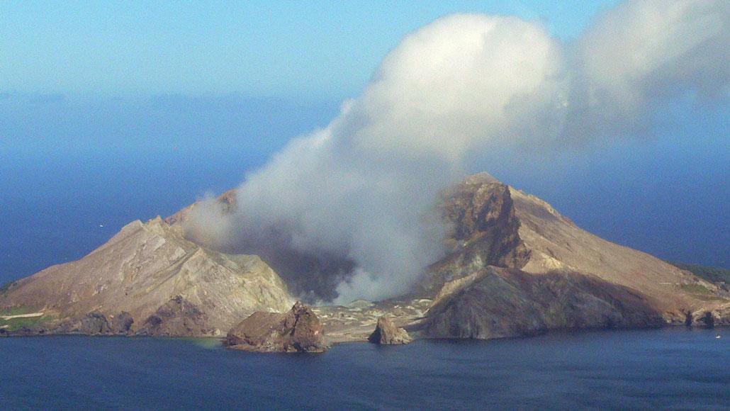 image of smoke above Whakaari volcano