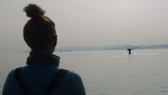 a woman spots a humpback whale tail