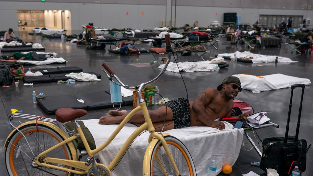 Portland residents cooling off in the Oregon Convention Center