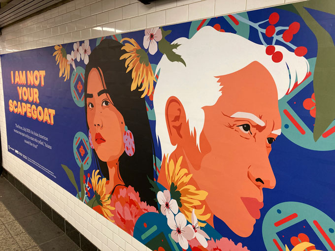 artistic subway poster with the faces of an Asian American man and woman