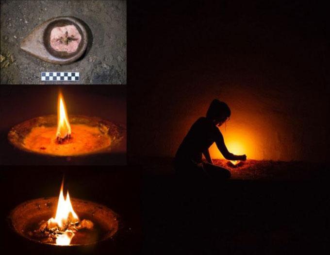 À droite: un chercheur allumant une lampe en pierre dans une grotte sombre.  À gauche, de haut en bas: trois photos montrant la lampe à différents stades de combustion