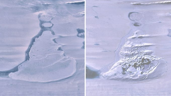 satellite images from before and after drainage of an ice-covered lake in Antarctica
