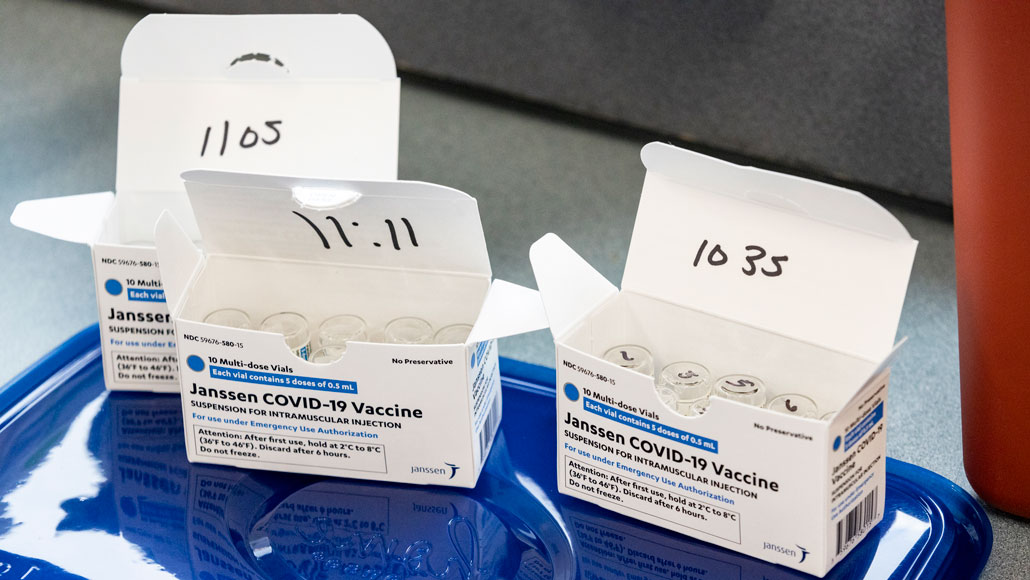 image of three boxes of vials containing Johnson & Johnson's COVID-19 vaccine