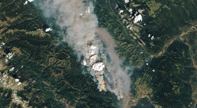 aerial image of a wildfire in British Columbia