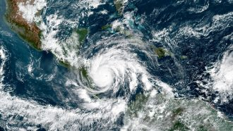a satellite photo of a hurricane over Central America