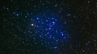 telescope image of a star cluster, which is surrounded by a blue haze