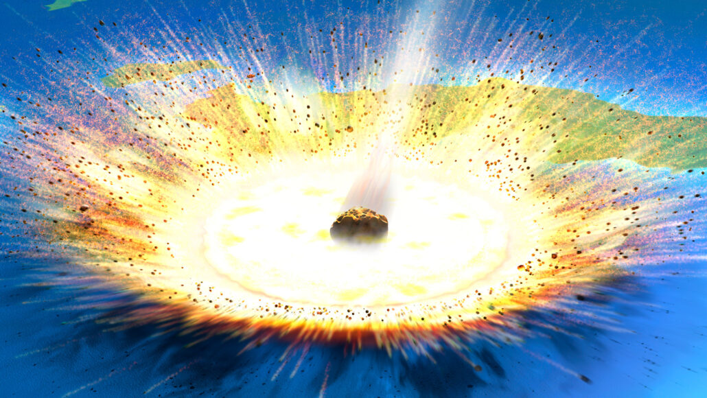 illustration of Chicxulub asteroid impact