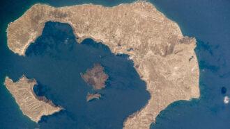 satellite image of Santorini