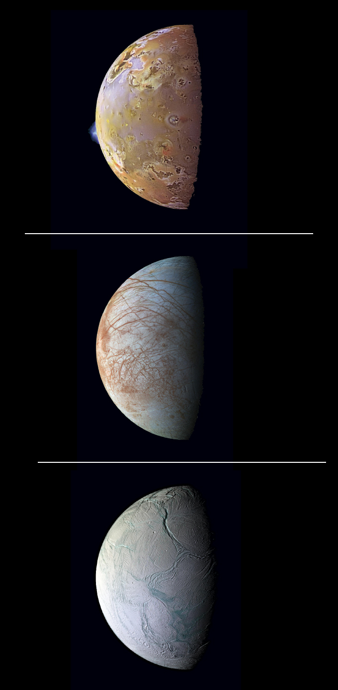 images of Io, Europa and Enceladus