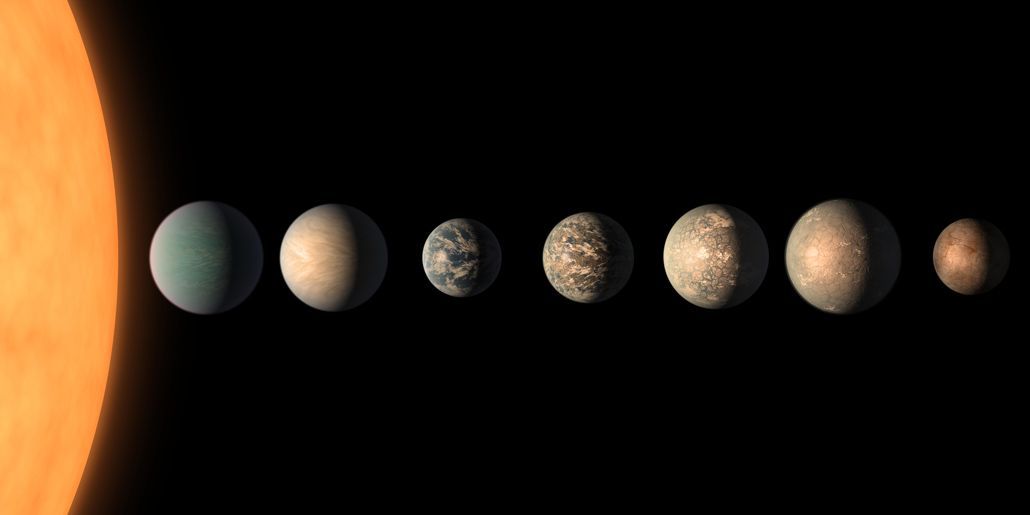 illustration of the TRAPPIST-1 planet system