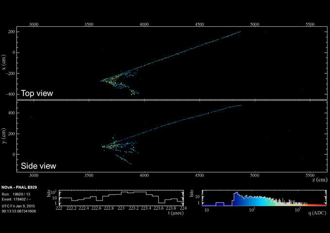 immagine dei dati sui neutrini dell'esperimento NOvA