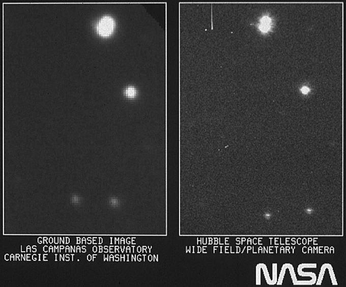 side-by-side images of stars, seen as white dots on a black background