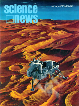 cover of Science News showing a lander on the surface of Mars with a blue sky