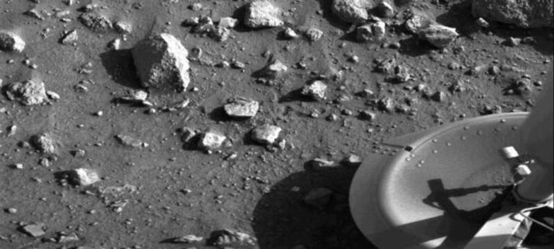 black and white image of the rocky surface of Mars