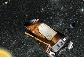 illustration of the Kepler space telescope in space with a starry background
