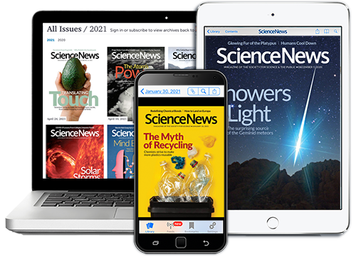 a composite image showing a computer, tablet and phone displaying covers of Science News magazine