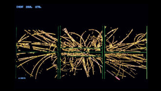 an computer illustration of streaks of yellow bouncing around in loops - showing how the debris from a proton-antiproton collision moved. the straighter path of a high-energy electron is also shown