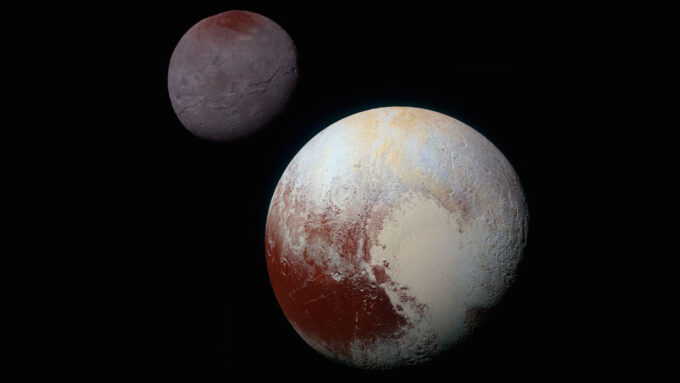 a photo of Charon behind Pluto