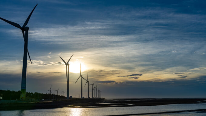 a row of windmills in Taiwan