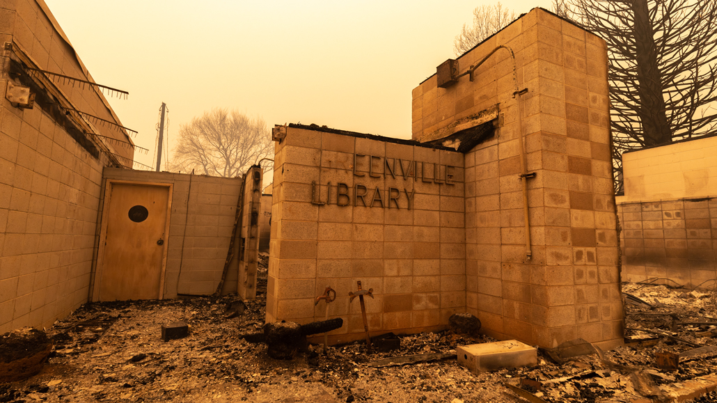 burned library building in Greenville, California