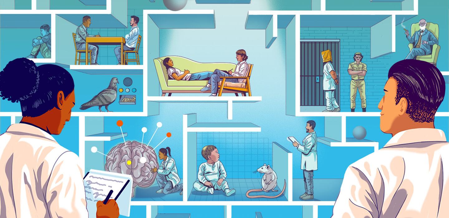 illustration of two scientists looking at boxes depicting famous psychology experiments