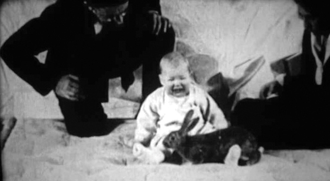 baby Little Albert crying with a rabbit