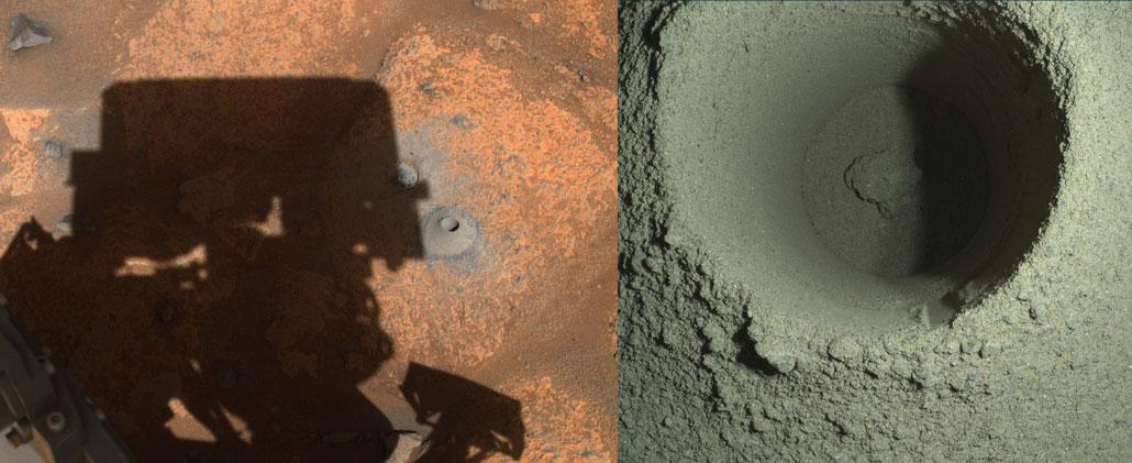 Pisahkan gambar dengan tampilan lebar dan tampilan dekat sumur di tanah Mars