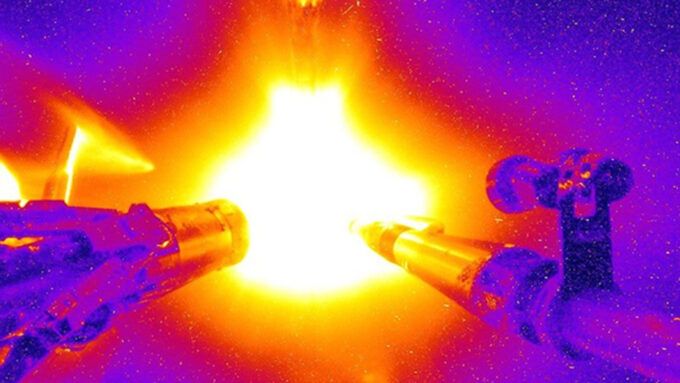 laser blast in a nuclear fusion experiment