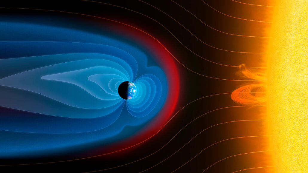 illustration of Earth and the sun, with Earth's magnetic field shown in blue, the solar wind shown in orange lines, and a bow shock as a red line where the two meet