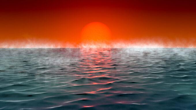 illustration of a steamy ocean horizon