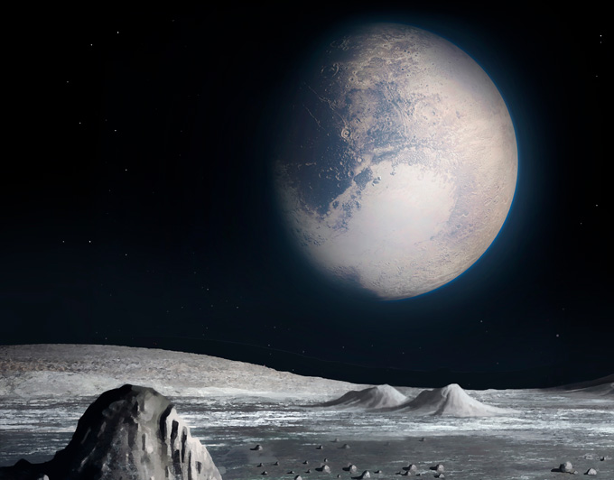 illustration of the view of Pluto from Charon